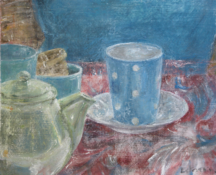 Still life with green teapot and 2 turquoise mugs on a red and blue table cloth, a Christmas breakfast.oil painting on cardboard.sold.