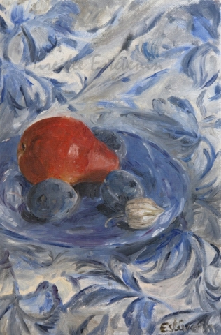 Still life with a red pear and blue plums on a blue plate, on a white and blue table cloth. oil painting on cardboard.sold