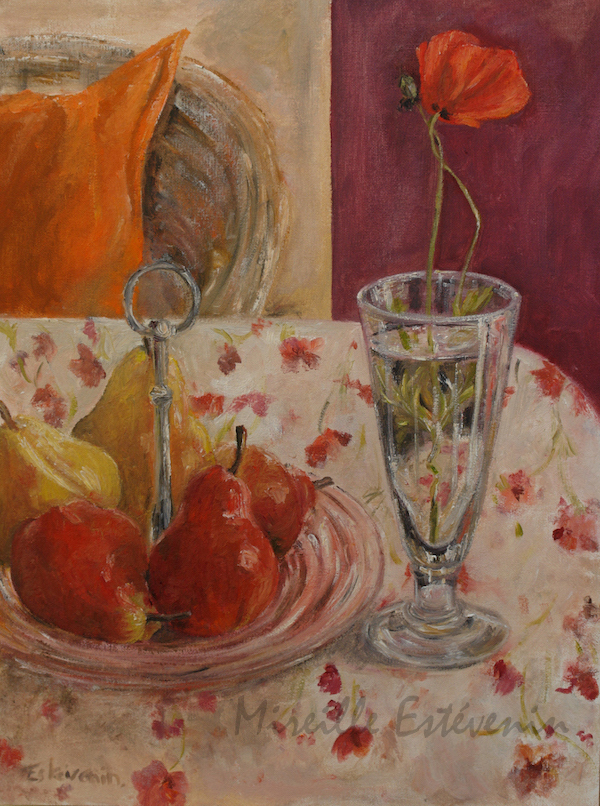 Still life with a first red poppy in a glass and 5 red and yellow pears in a pink dish, on a flowers table cloth. we can see an armchair and an orange cushion. oil painting on cardboard. sold.