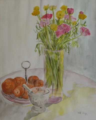 "Still life with yellow and pink flowers in a glass vase, and clementines in a dish and pot with sugar. watercolor on paper(20""x24"")"