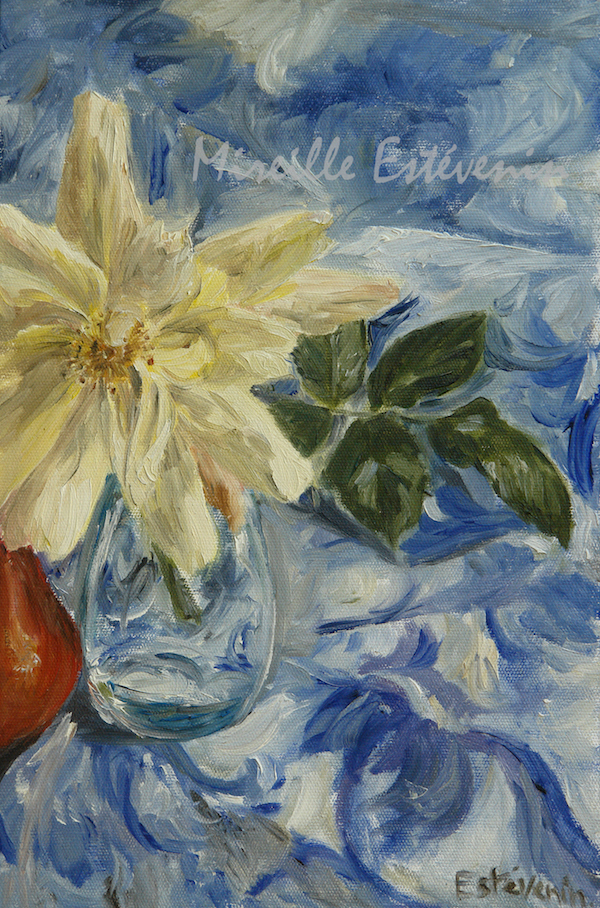still life with a yellow rose in a turquoise glass with a red pear, on a white and blue table cloth. oil painting on cardboard.sold.
