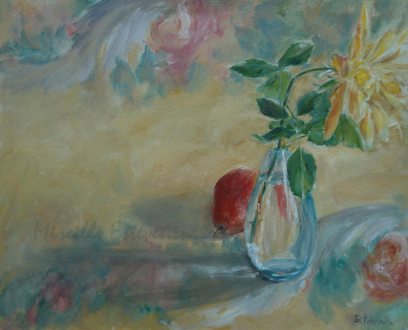 Still life of a yellow rose in a turquoise glass with a red pear on a colored (turquoise pale, pink and yellow) table cloth. oil painting on canvas.sold.