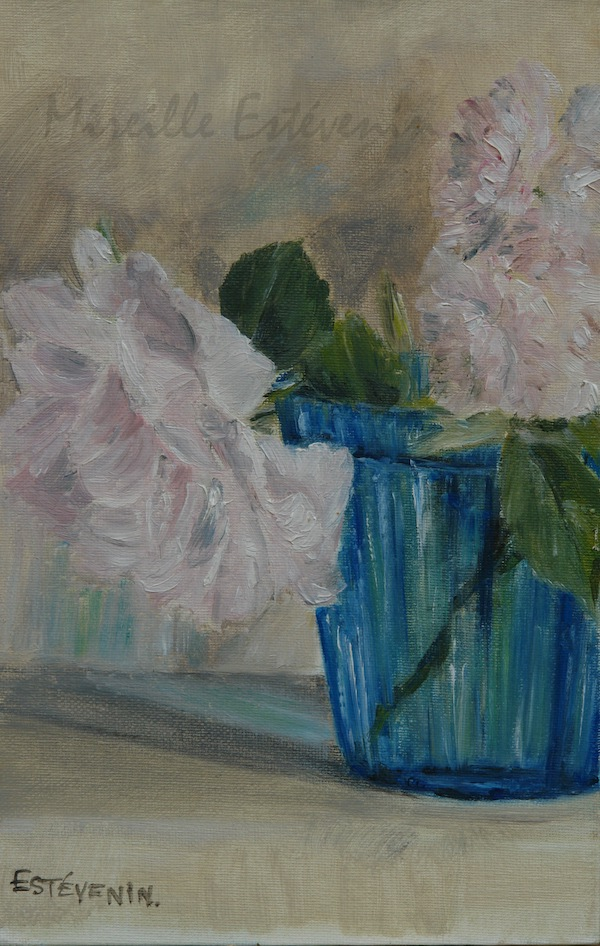 Still life of pale pink rose in a turquoise glass. oil painting on cardboard(small size).sold.