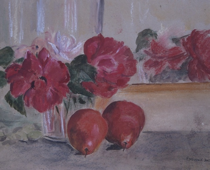 Still life of roses bunch in a glass pot and 2 red pears on a sideboard. watercolor and pastel on recycled paper.