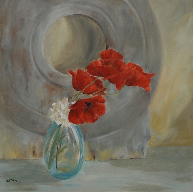 "Still life of red poppies in a turquoise glass on a sideboard. oil painting on cardboard(16""x16"").sold"