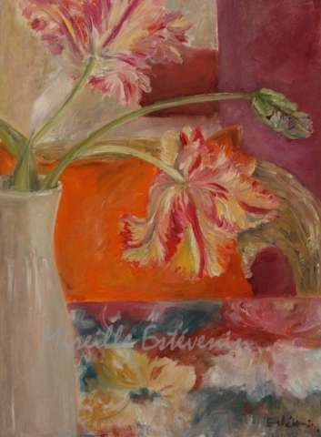 Still life of 3 parrot tulips in a white vase, on a flowered table cloth and in front of an  armchair with an orange cushion. the wall are red purple.oil painting on cardboard.sold.