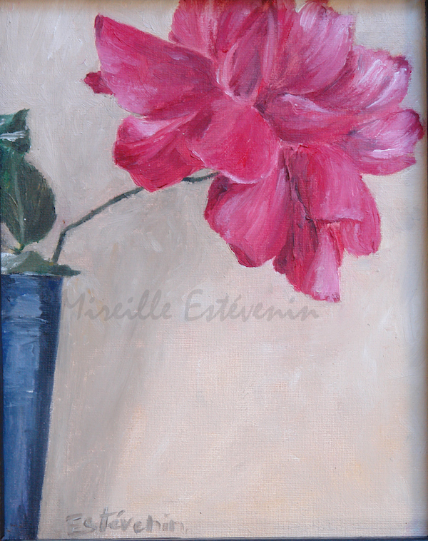 Still life of a pink rose in a dark blue glass. The background is light. oil painting on cardboard.sold
