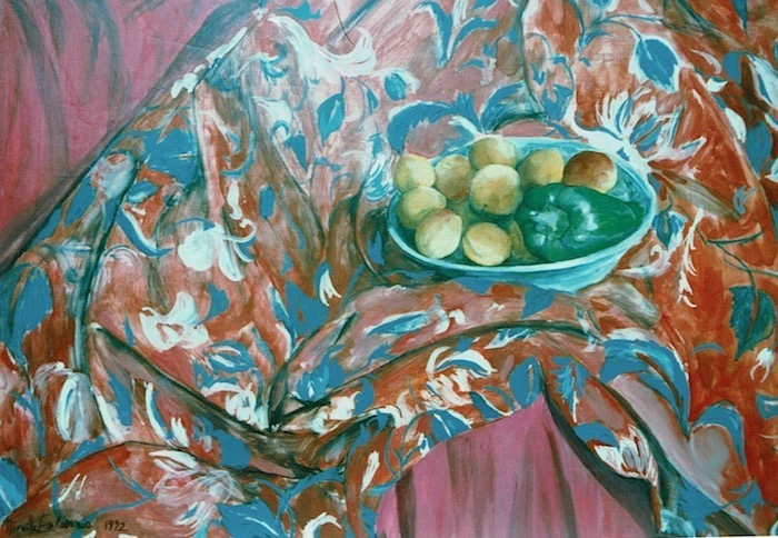Still life with apricots and a green pepper in a turquoise dish, on a red and blue sofa cloth. oil on canvas.sold.
