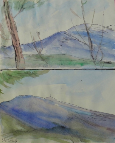 2 sketches of the Mont Ventoux in winter. Ink pen and watercolor on paper book