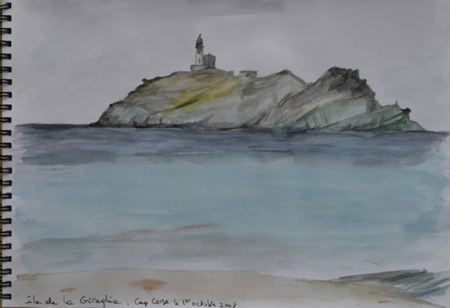 sketch of Giraglia island in the Cap Corse. watercolor in a sketchbook.