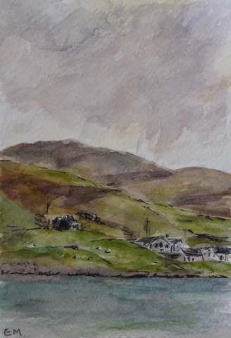 Sketch of the landscape at Luskentyre, Scotland. watercolor and pen