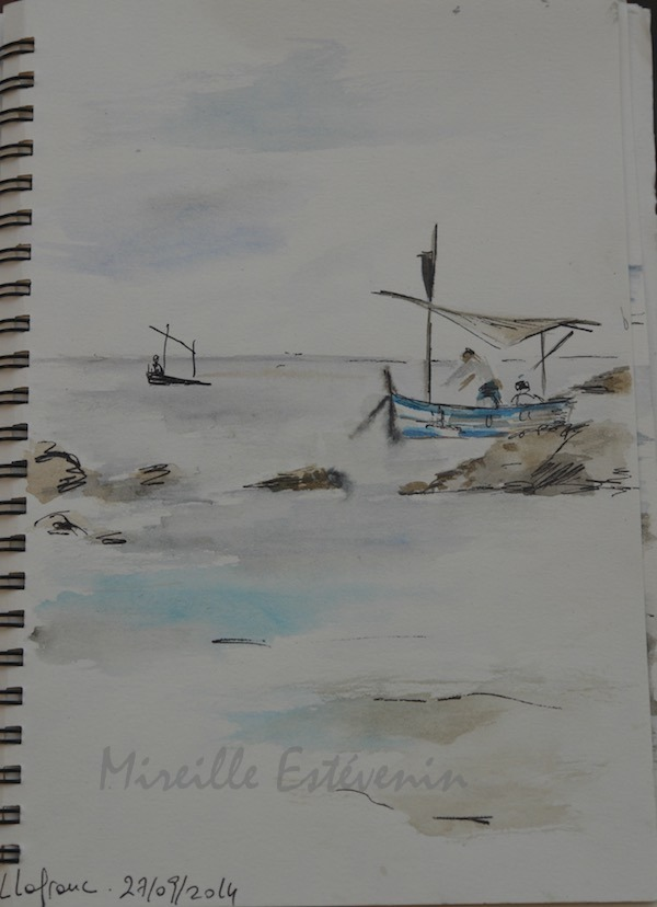 Sketch of small boats on the sea in Spain. watercolor and black pen in a travel sketchbook