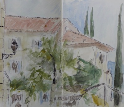 Sketch of houses at Crillon le Brave. Ink pen and watercolor on paper book