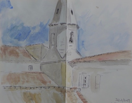 Sketch of a part of the church tower at Crillon Le Brave. Ink pen and watercolor on paper book