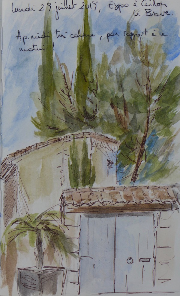 Sketch of house at crillon. Ink pen and watercolor on paper book
