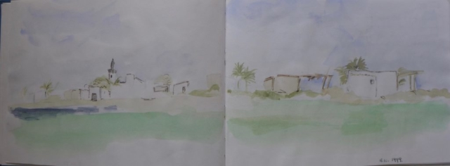 View of houses near a beach in Djerba. watercolor on sketch book