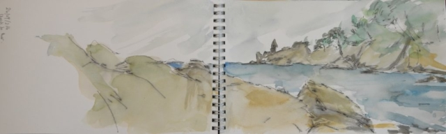 Sketch with watercolor of landscape of rocks and sea in Spain.