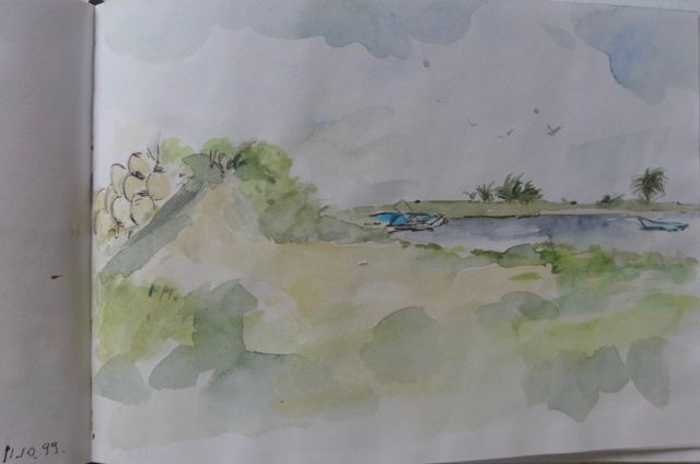Sketch with watercolor of a landscape in Djerba