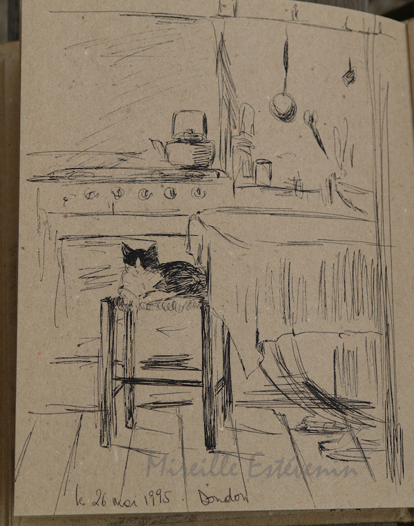 Sketch of interior scene with a cat in the kitchen. pen on  recycled paper in a sketch book.