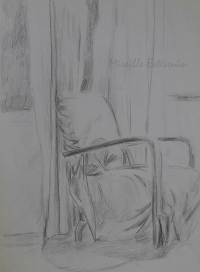 Sketch of an interior scene with armchair behind the window.. charcoal on recycled paper