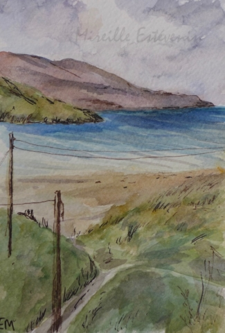 View on the beach of Luskentyre from the B&B. Autumn 2018. watercolor and pen