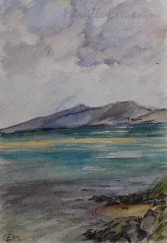Sketch of the beach of Luskentyre in autumn 2018. watercolor and pen