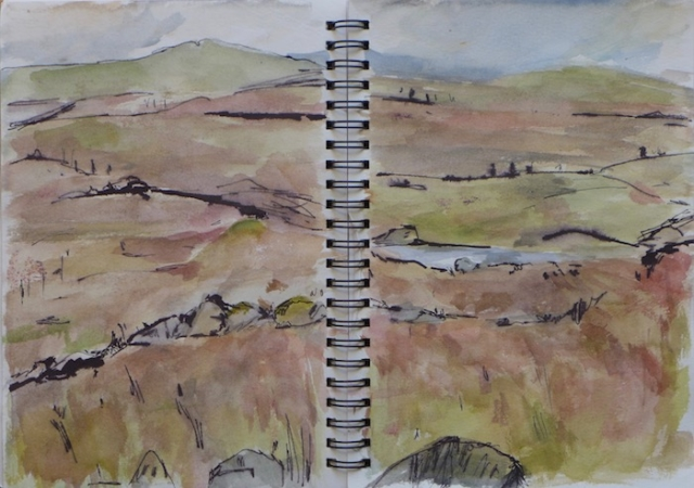 Sketch of landscape in Lewis and Harris island, in Scotland.watercolor and ink pen