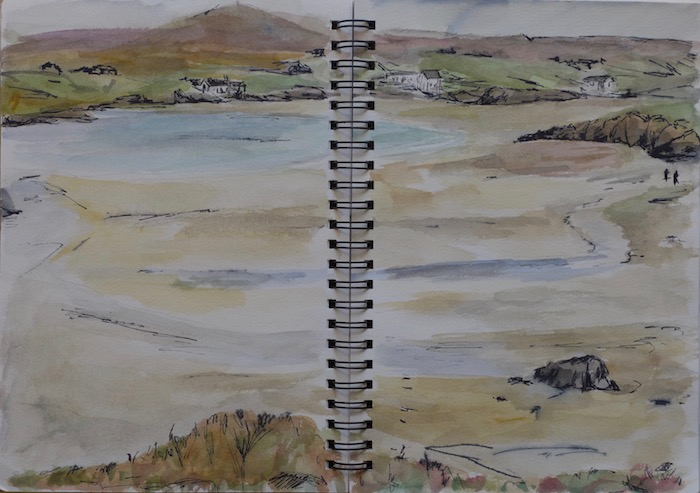 Sketch of the beach of Carnais in Hebrides in Scotland. watercolor and ink pen