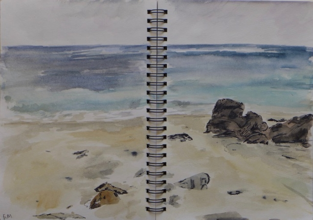 Sketch of a beach and sea near Breimis, Lewis isalnd. watercolor and ink pen