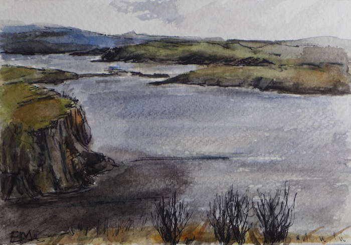 View on a lake at Fiscavaig, Skye island, Scotland, from the B&B. watercolor and pen