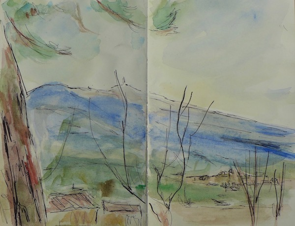 Sketch of the Mont Ventoux in winter at Caromb. Ink pen and watercolor on paper book