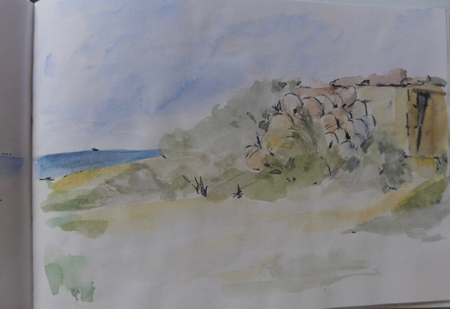 View of a beach at Djerba. watercolor on sketch book