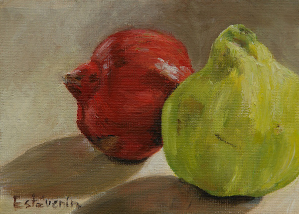 Still life with a quince and a pomegranate.oil painting on cardboard(small size).sold