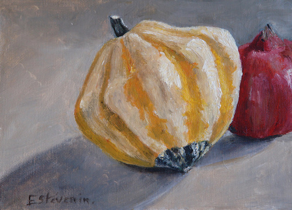 Still life with a pumpkin and a pomegranate on grey color. oil painting on cardboard. sold.