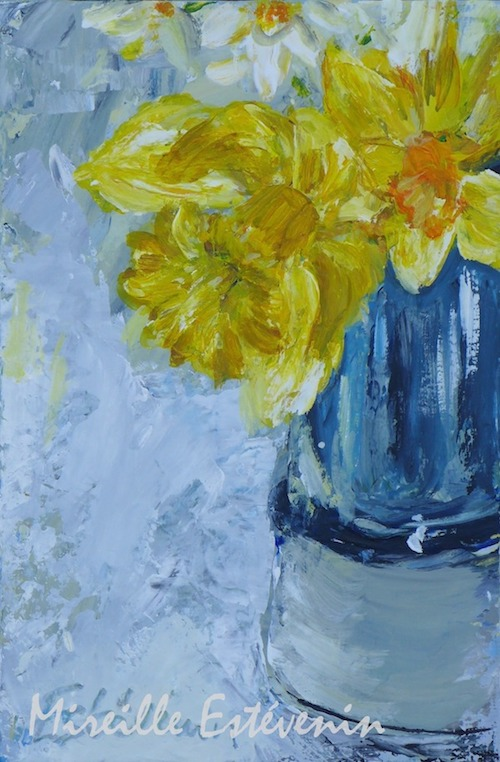 Still life with daffodils in a blue pot. mixed media on canvas board.sold