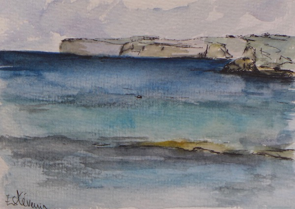 "View of the sea at Malta in 2017. watercolor and pen on paper (4""x6"")"