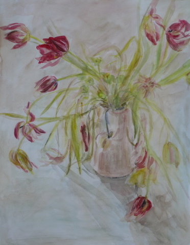 "Watercolor still life with red/pink tulips in a pale pink pot.20""x25.5"""