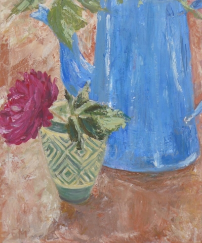 Still life with a green cup and a red pink rose and a deep blue pot on red ocre colour