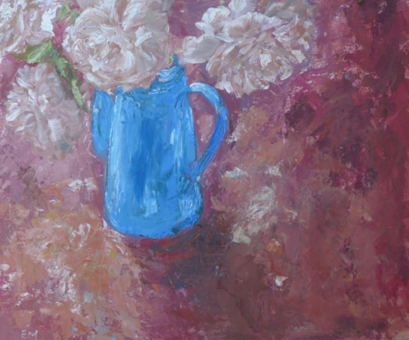 Still life with blue pot and pale pink roses on deep red and ocre colors