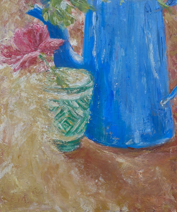 "still life with blue coffee pot and a green cup with a rose. mixed media on canvas 19""x21.5"""