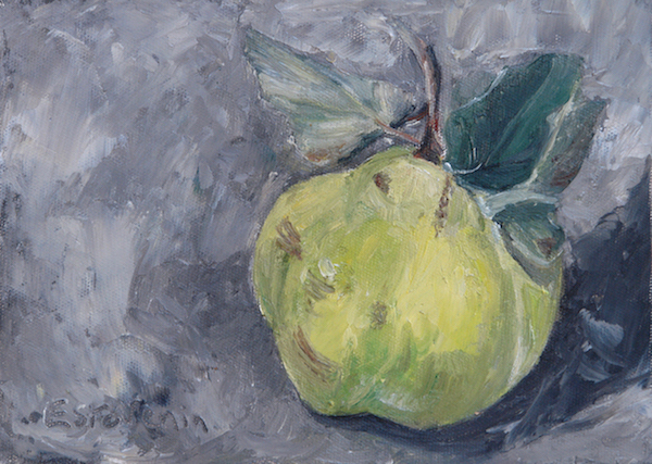 Still life with a quince on grey table.oil on canvas board.sold