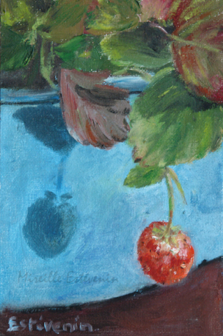 One strawberry in a blue pot in winter. oil on canvas board.sold