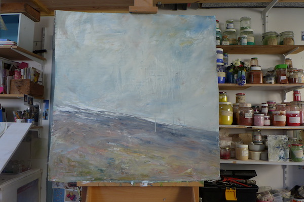 View in the studio with a painting of the Ventoux