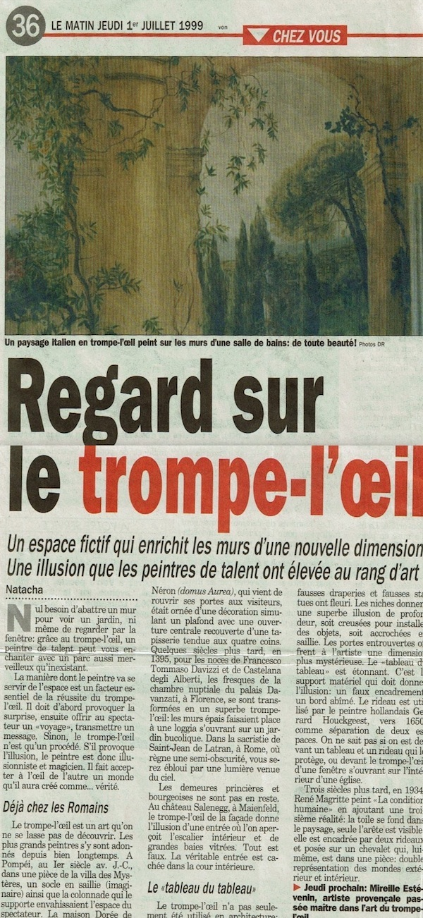 "Publication by ""Le Matin"" about Mireille Estévenin work"