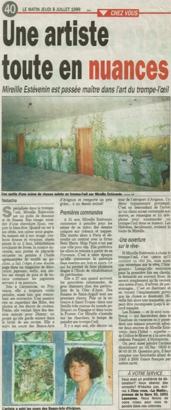 Publication by Le Matin News about Mireille Estévenin work