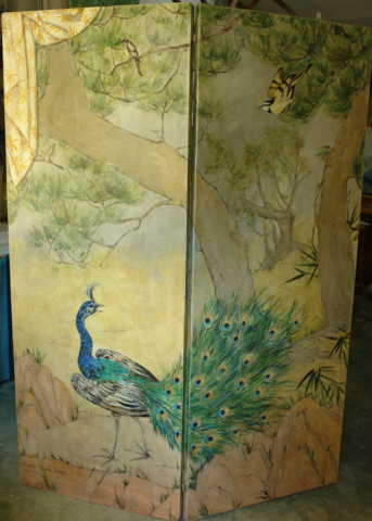 Peacock and landscape inspired by an ancient painter Shoei Kano, painted on the recto side of the japan screen. mixed media on wood