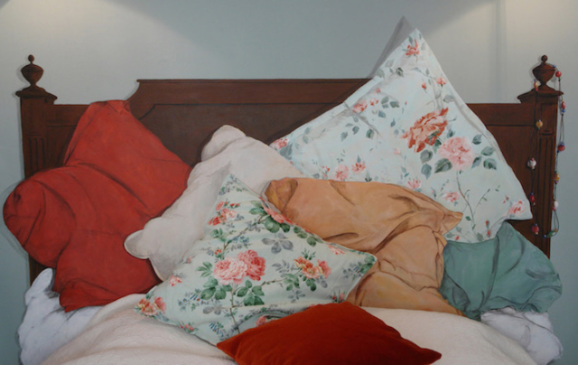 Detail of the fake bed and cushions painted on a wall of the bedroom. acrylic technic.
