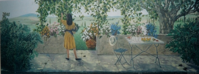 Provence landsacpe painted on an exterior wall at the Avignon airport, with a lady in yellow dress,picking grappes...acrylic technic