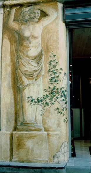 Fake caryatid painted on an outside wall in Isle sur la Sorgue. acrylic technic