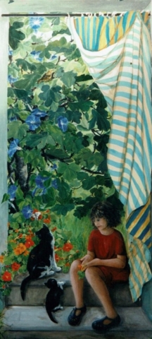 Outside décor of a little girl setting on stairs with 2 black and white cats. A curtain striped yellow and blue and a garden with fig tree. acrylic technic